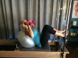Simple Leg Presses with hand weights.